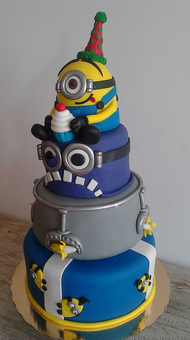 Minion Birthday Cake, 3 tiers, minion, yellow - AppleMark