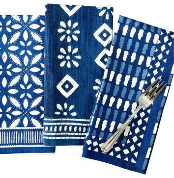 Indigo Batik Print Luncheon Napkins - Set of 3 - transitional - Napkins - Bliss Home & Design