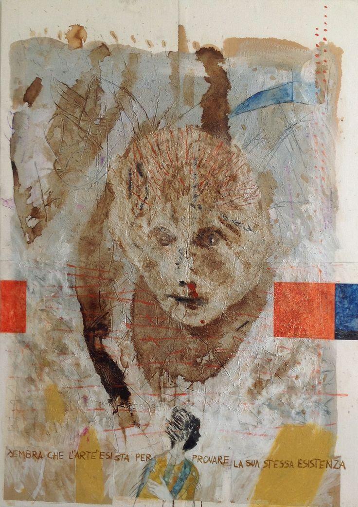 Sembra che l'arte esista per provare la sua stessa esistenza, tecnica mista su carta