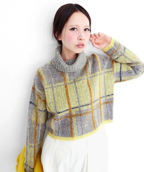 KBF 2014AWcollection Check turtle neck sweater 8,532 yen