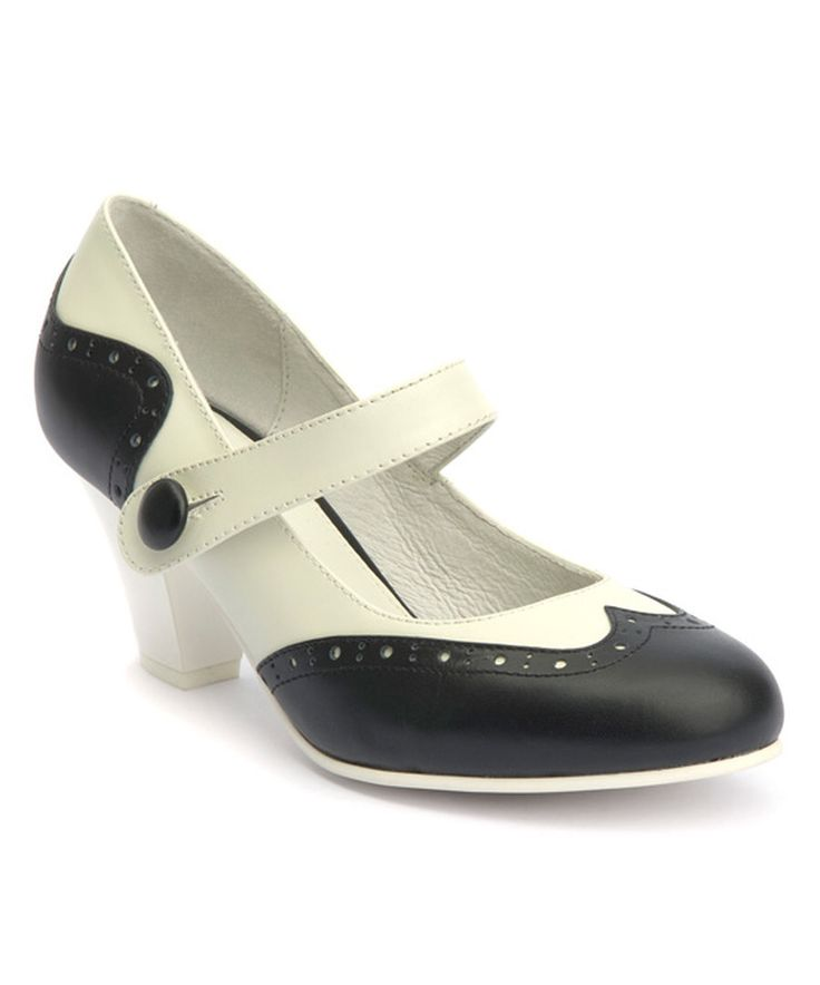 Look at this Lola Ramona White & Black Elsie Leather Spectator Pump on #zulily today!