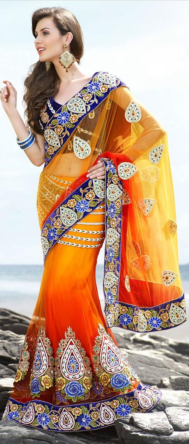 Shaded #Orange Net #Lehenga Style #Saree with Blouse @ $240.64