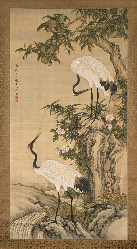 Cranes, Peach Tree, and Chinese Roses, Qing dynasty (1644–1911)  After Shen Nanpin (Shen Quan) (Chinese, 1682–1758)  Hanging scroll; ink and color on silk