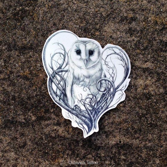 Barn Owl Temporary Tattoo - Owl - Barn Owl - Owl Temporary Tattoo - Nature Tattoo - Owls by OctaviaTattoo on Etsy https://www.etsy.com/listing/214351440/barn-owl-temporary-tattoo-owl-barn-owl