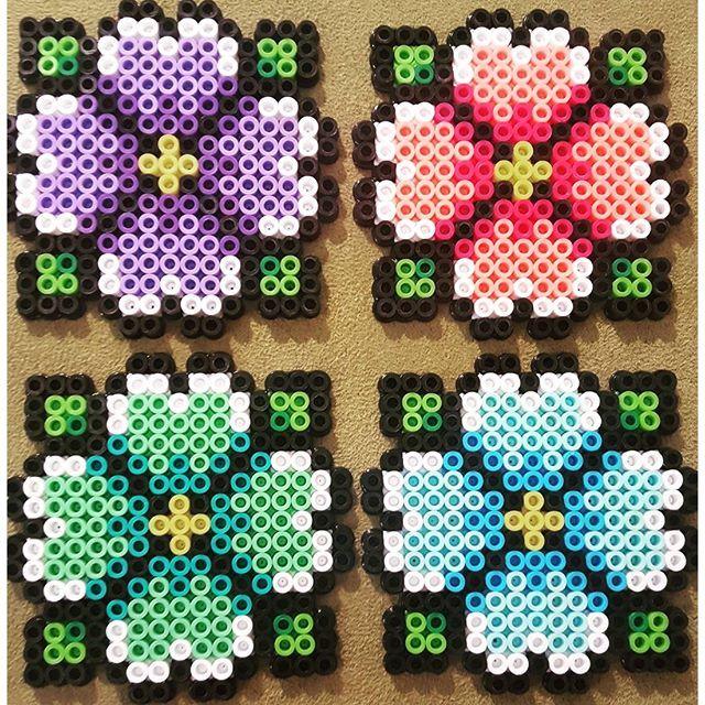 Spring coaster set perler beads by vox_popu_perls                              …