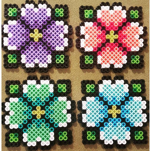 Spring coaster set perler beads by vox_popu_perls