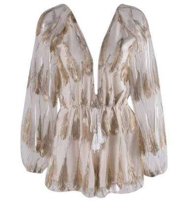 Soho White and Gold Playsuit