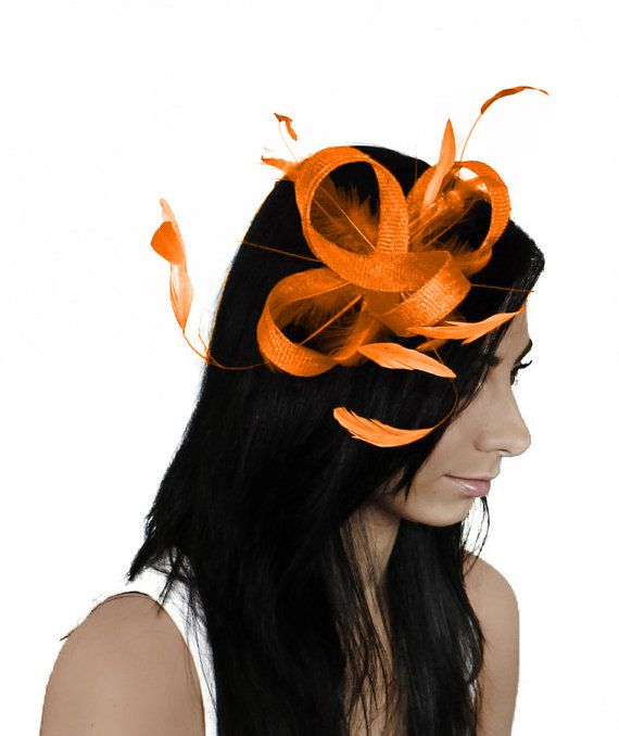 Four Loops Orange Fascinator Hat for Weddings, Races, and Special Events With Headband on Etsy, $80.00