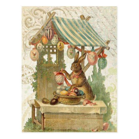 Vintage Easter bunny postcard - tap, personalize, buy right now!
