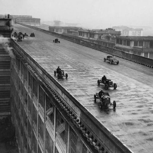 Factory workers race on the roof of the Fiat factory in Turin, Italy (1923)