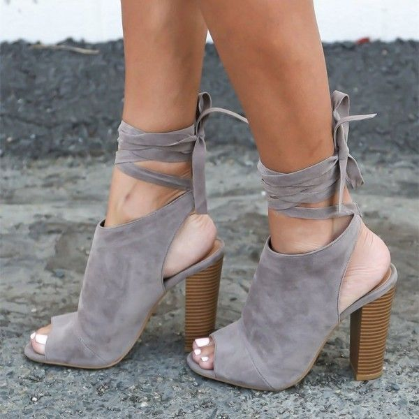 Women's Fall and Winter Fashion Boots Grey Suede Slingback Heels Chunky Heel Ankle Booties 2017 Fall Fashion Trends Back To School Outfits For College Plus Size Fashion For Women Fall Fashion Anke Booties for Work, Formal event | FSJ #ForWomens