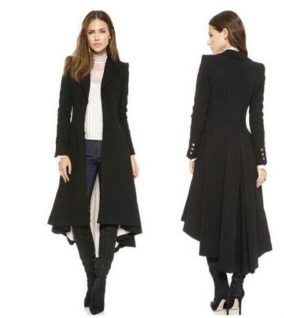 2018 Steampunk Vintage Ladies Swallow Tail Long Coat Blazer Suits Jacket