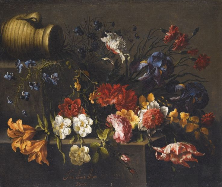 Juan de Arellano (1614-1676) –– Lilies, Roses, Peonies, Pinks, Iris, a Tulip And Other Flowers on a Stone Ledge, an Earthenware Vessel Upper Left, 1665