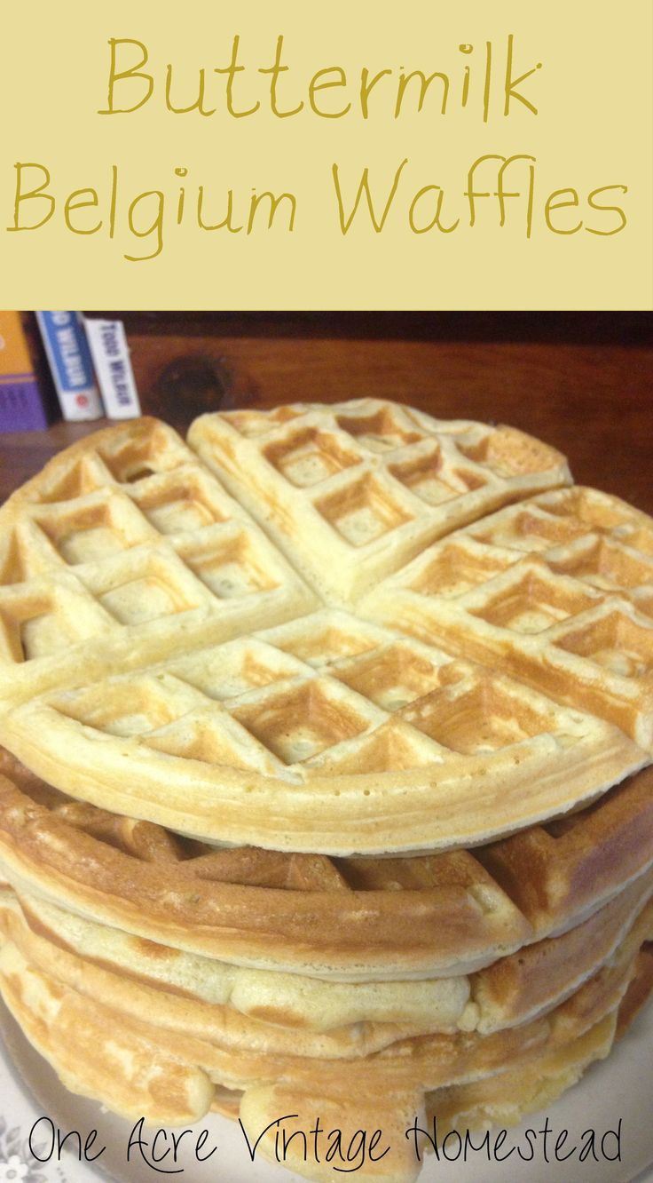 Homemade soft Buttermilk Belgium Waffles from One Acre Vintage ...