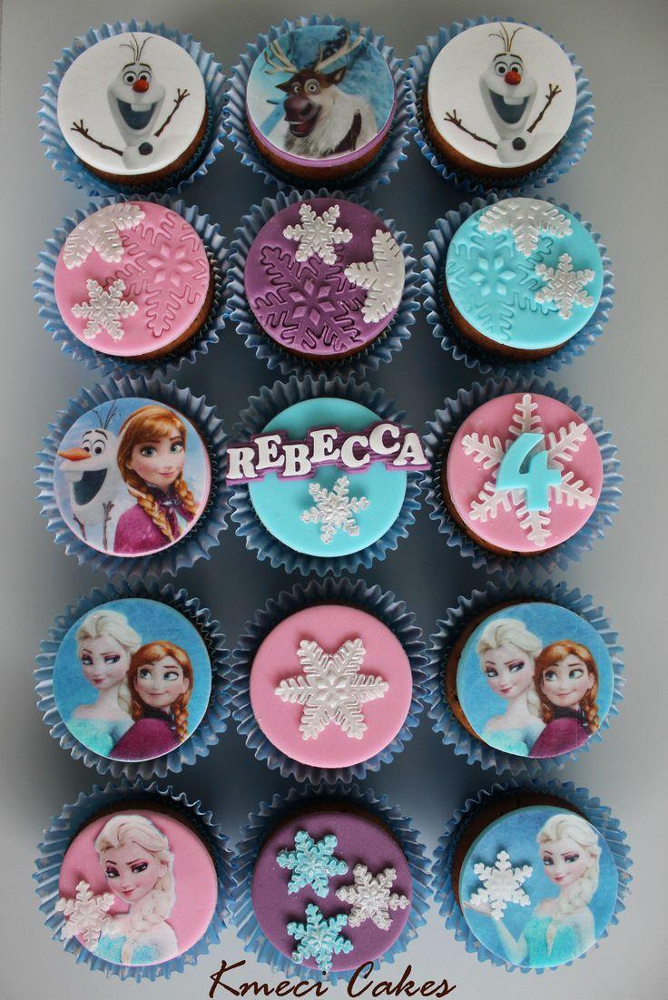 Disney Frozen cupcakes, Elsa, Anna, Olaf.... and snowflakes