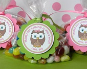12 Look Whoo's One Birthday Party Favor Tags in Pink and Green