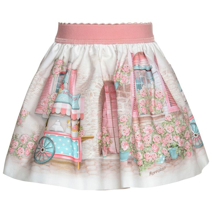 Poplin skirt with a print of small balconies