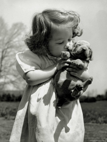Christina Goldsmith Kissing a Weimaraner Puppy from Her Father's Stock of Weimaraner Hunting Dogs by Bernard Hoffman (Time-Life)Little Girls, Puppies, Dogs, Best Friends, Vintage, Sweets Kisses, Kids, Old Photos, Animal