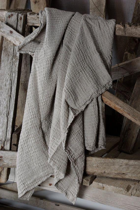 natural Linen Bath Sheet  Linen towel waffle. $23.99, via Etsy.