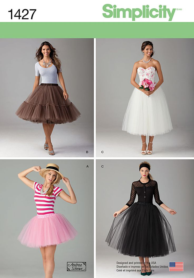 This is the statement piece your wardrobe has been longing for! Misses' tulle skirts in three lengths are perfect for any occasion. Dress it up for an evening out, or dress it down for a sweet everyday look. Sew the look with Simplicity pattern 1427.