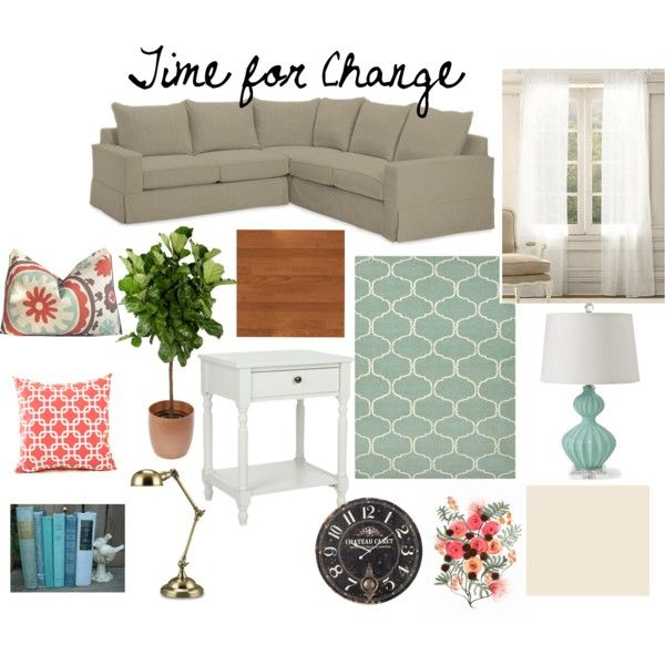 Gray And Teal Living Room By Jurzychic On Polyvore: 17 Best Ideas About Coral Living Rooms On Pinterest