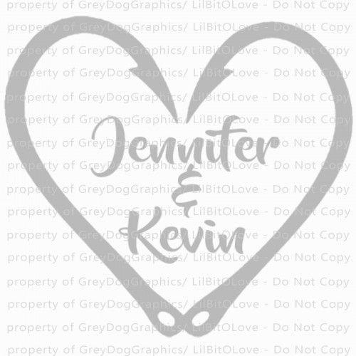 Custom Fish Hook Heart with Couple's names in the center - Boyfriend Girlfriend Husband Wife Sticker for car truck auto rv window door boat bus atv MacBook laptop scrapbook wall, Couples Decals, Coupl