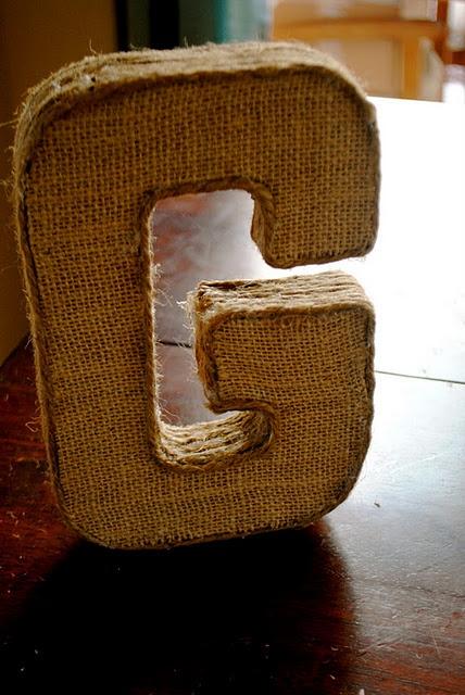 DIY burlap covered letter