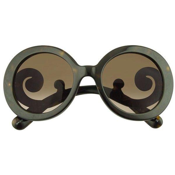 Prada Sunglasses Swirled Temple Large Frame Sunglasses ($310) ❤ liked on Polyvore featuring accessories, eyewear, sunglasses, glasses, prada, óculos, thick sunglasses, prada glasses, round sunglasses and round frame sunglasses
