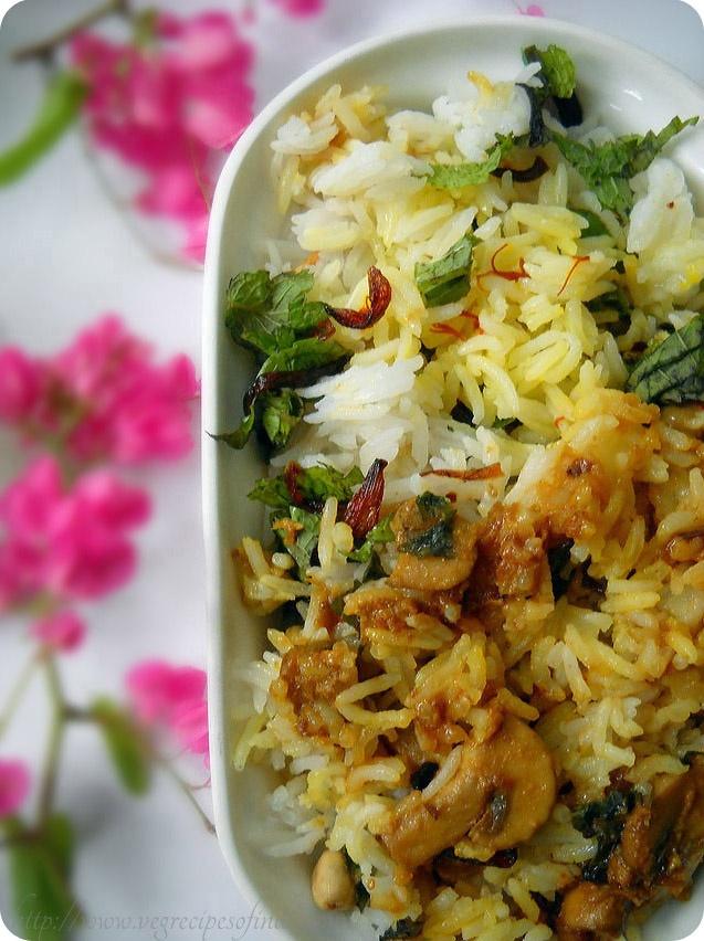 'Mushroom-Dum-Biryani': Layered Mushroom and Aromatic Basmati Rice Dish