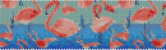 Flamingo Peyote Cuff Pattern by Tropicalkaren on Etsy