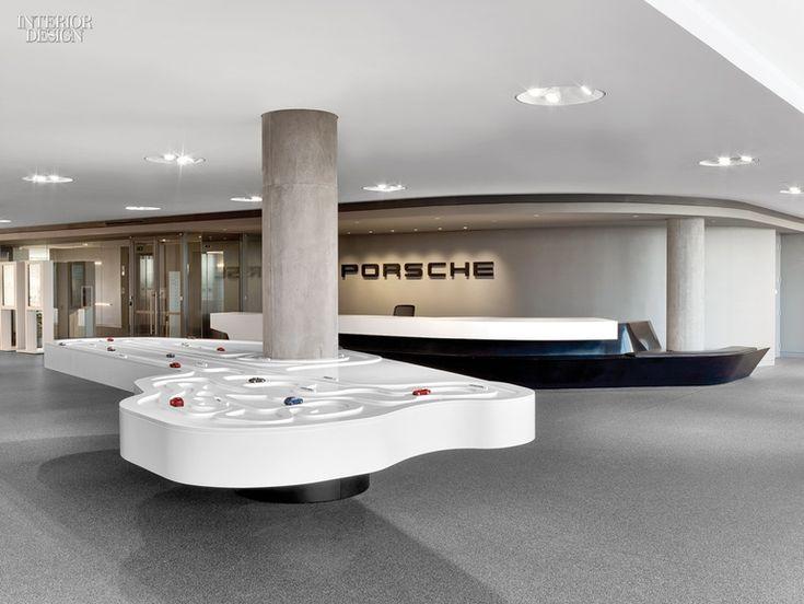 Sculpture In Motion Porsche Experience Center By HOK Reception CounterReception DesignInterior