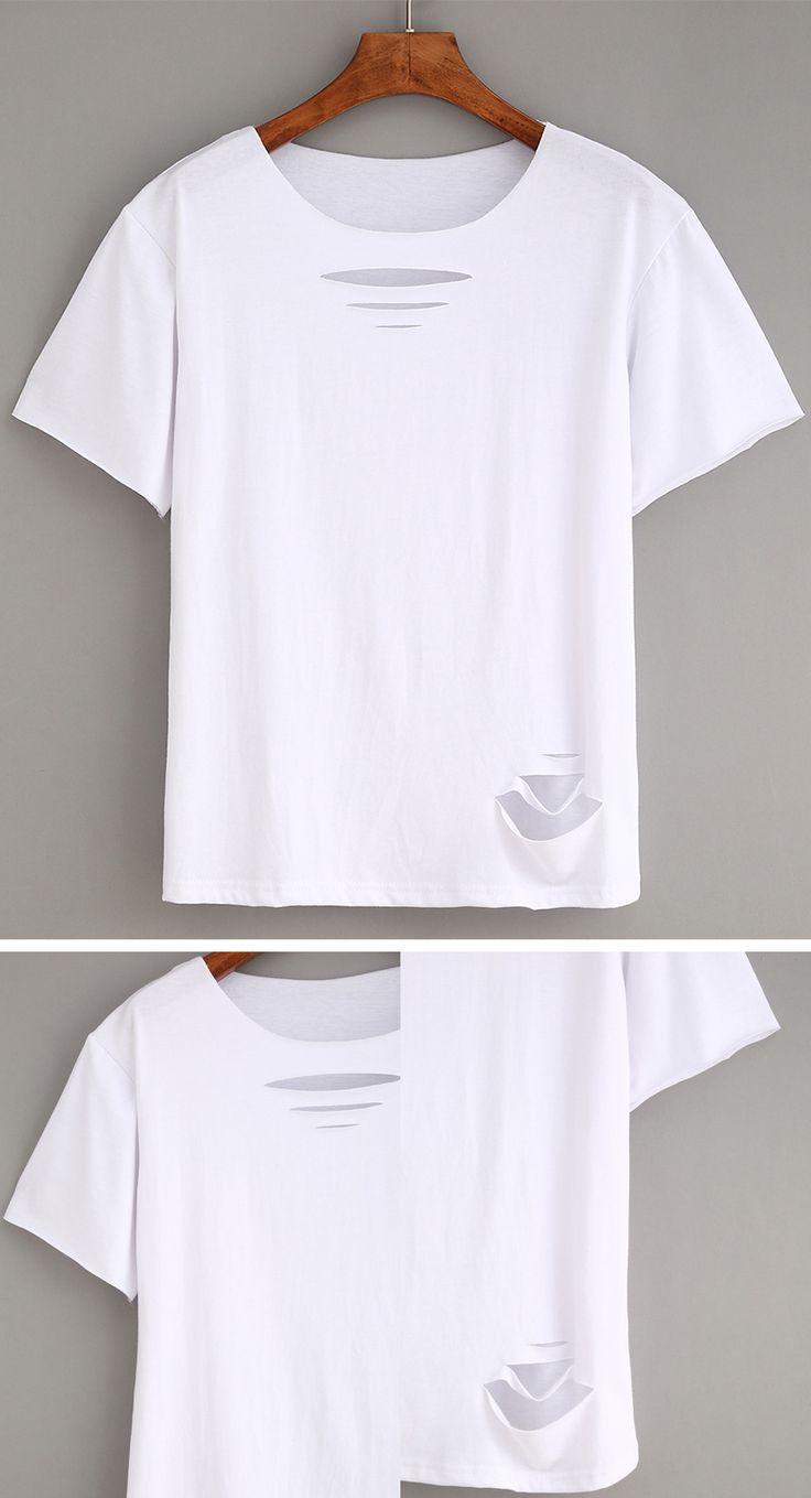 Design t shirt diy - Ripped Plain White T Shirt