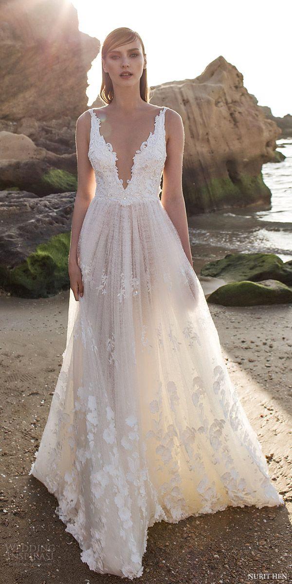 nurit hen 2016 sleeveless plunging vneck aline lace wedding dress (sw30) mv romantic