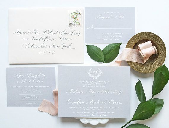 This gray and blush invitation is a perfect classic yet elegant touch for your wedding. These wedding invitations are featured in gray and blush, but each elegant wedding invitation can be customized to your colors, wording and paper type, for final orders. #WeddingInvitations #WeddingCards #WeddingInvites #CustomWeddingCards