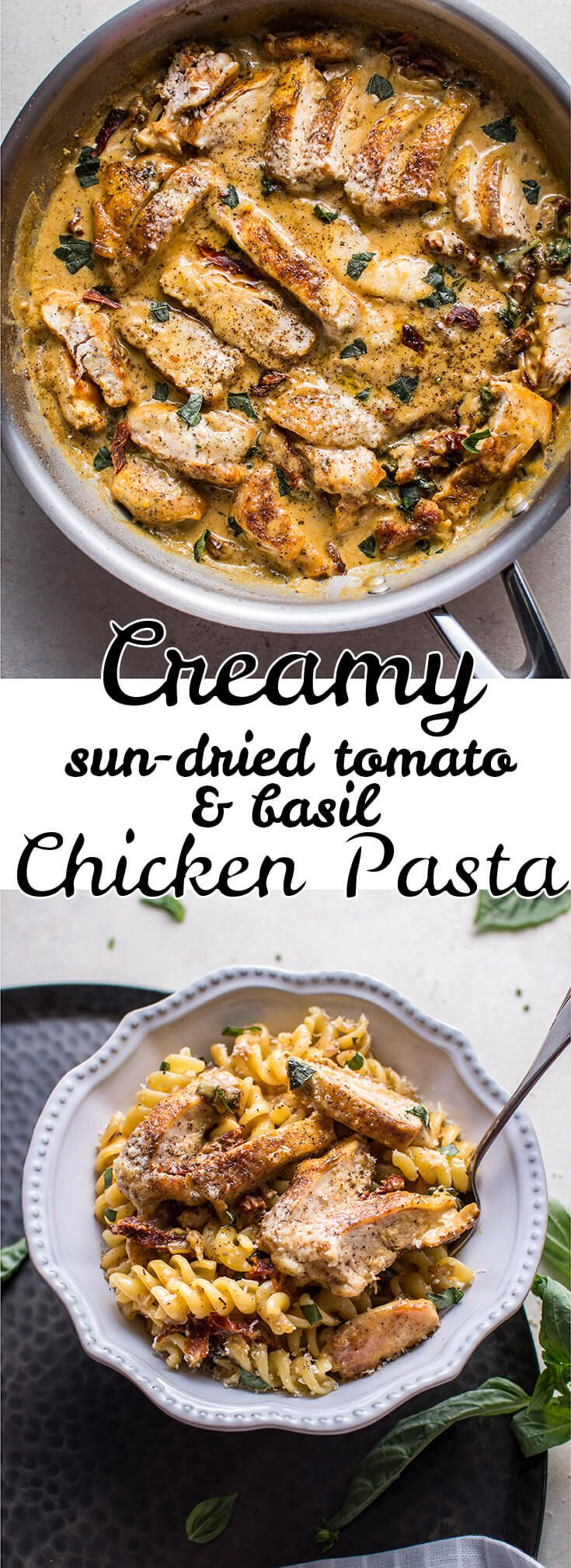 This creamy sun-dried tomato and basil chicken pasta is fast, easy to make, and full of flavor!