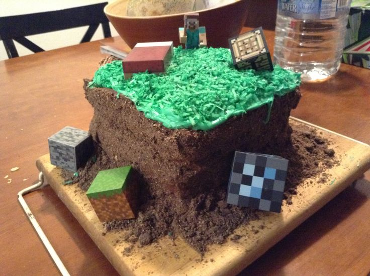 Easy, simple, less then $20 minecraft cake: 3 square pans, 2 chocolate box cake and ingredients from box cake,Oreos and gram crackers,green food coloring,chocolate and vanilla CREMEY must be creamy