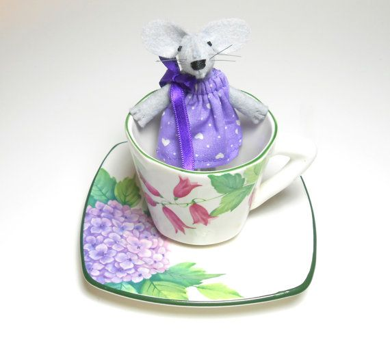 Tiny stuffed mouse toy Miniature mouse felt by atelierpompadour