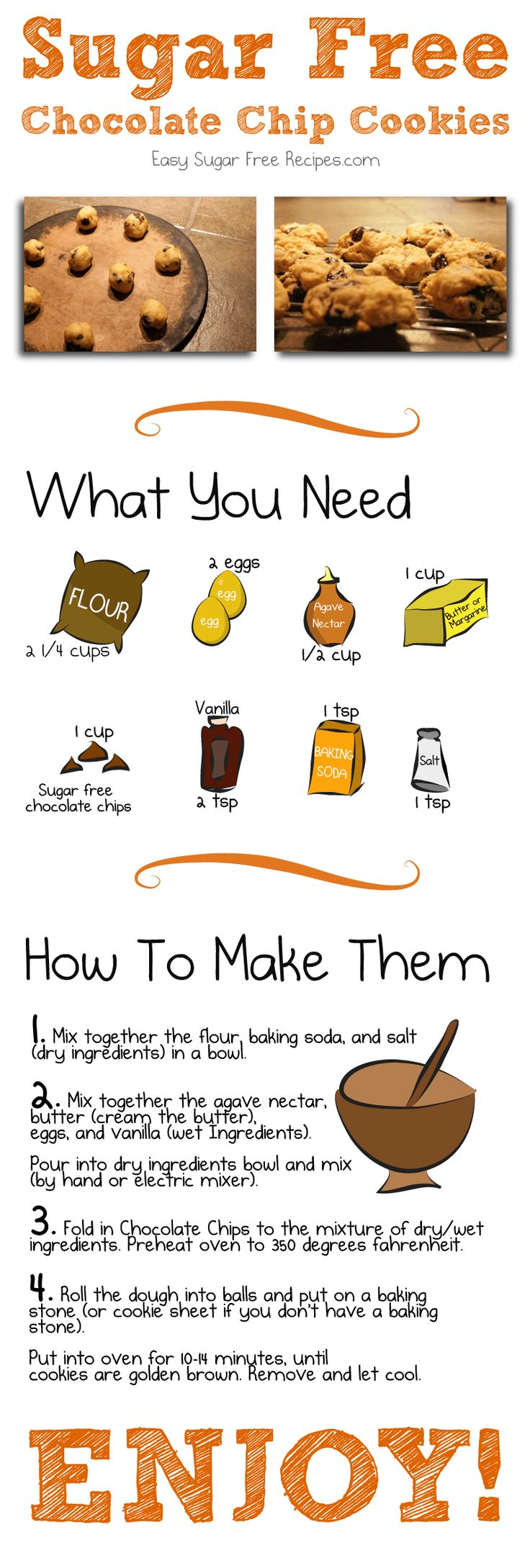 Baking sugar free chocolate chip cookie recipe? This printable recipe has oodles of photos, a comic with fun cartoons, and is diabetic-friendly.