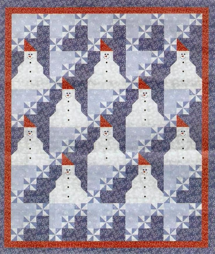 Snowman Quilt Patterns | Here are the downloadable pattern files: Page 1 and Page 2 .