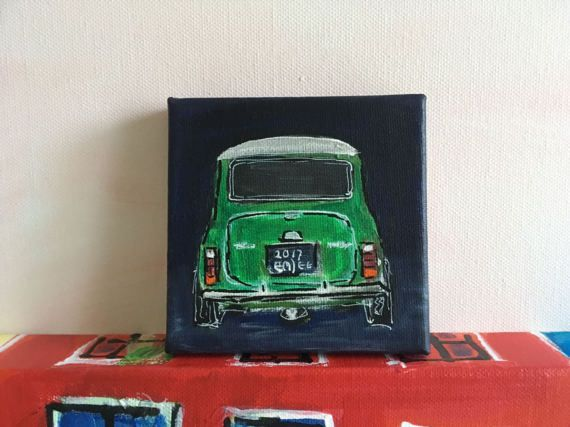 small acrylic painting of a car Mini Cooper by artemjee on Etsy