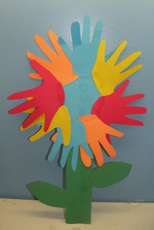 Hand Print Flower Mothers Day Kids Craft