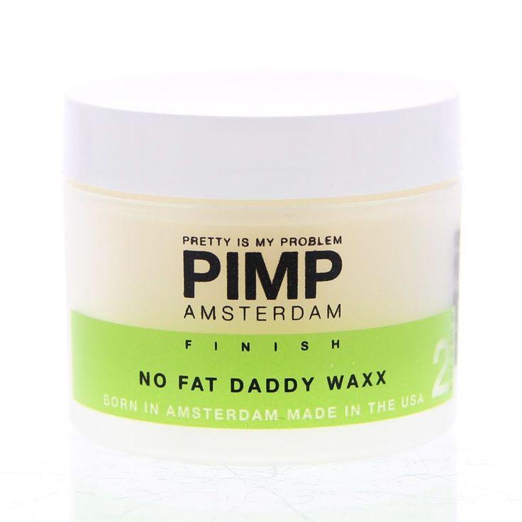 PIMP Amsterdam Finish No Fat Daddy Waxx Wax Hold 7/10 - Glans 7/10 60gr  PIMP Amsterdam No Fat Daddy Waxx. Parabenen vrij. Stevigheid textuur & seperatie. Deze oldschool wax die snel droogt niet vet aanvoelt en de juiste glans geeft. Vanaf nu ben jij het allemaal: glad strak wild en ruig. Geur: mango. Gebruik: Te gebruiken in nat en droog haar.  EUR 14.96  Meer informatie