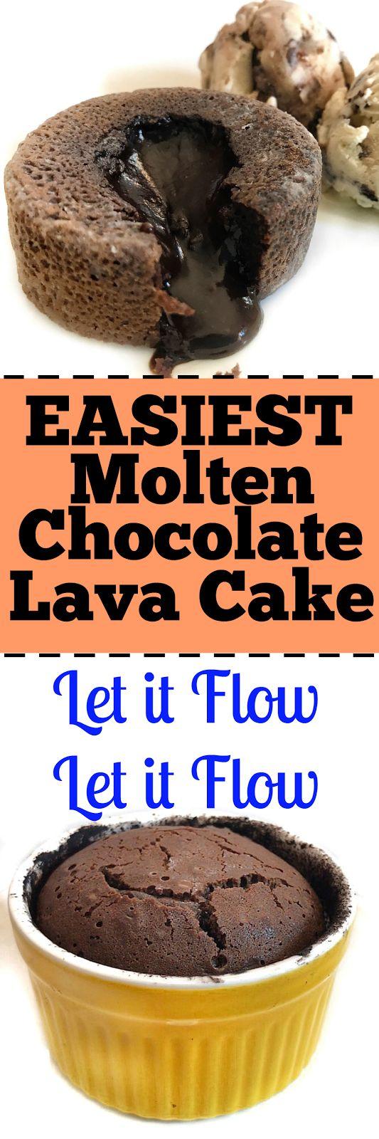 Easy to make Molten Lava Cake that flowss flowss flowss. Gooeeyy Chocolatey!