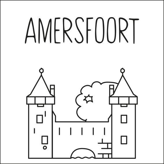 Haal een beetje van Amersfoort in huis met deze leuke 'straat' #raamtekening met een paar van de bekende gebouwen: Koppelpoort, Onze Lieve Vrouwetoren, Amersfoortse kei, Bierbrouwerij de drie Ringen, Eemklooster (vroeger het Klooster 'Onze Lieve Vrouw ter Eem'), Muurhuizen, de Monnikendam en Huis Cohen.
