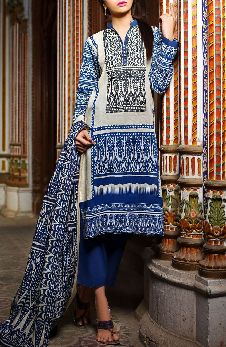 Buy Blue Embroidered Cotton Lawn Dress by Khaadi Lawn Collection 2015.