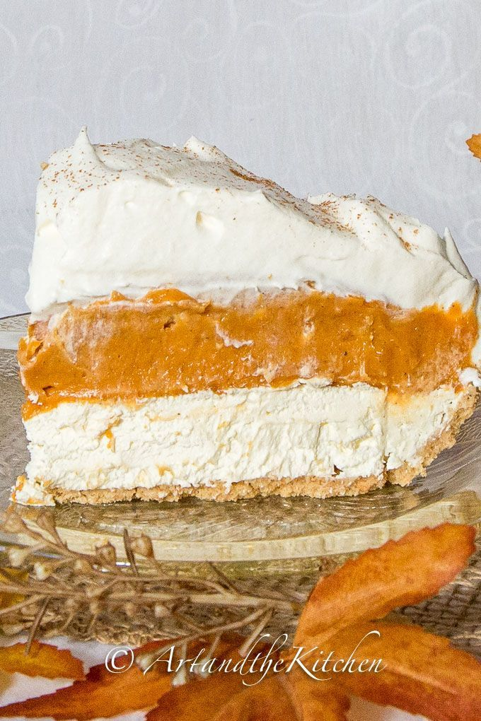 No Bake Triple Layer Pumpkin Pie | Art and the Kitchen - layers of cheese cake, creamy pumpkin filling, topped with whipped cream.