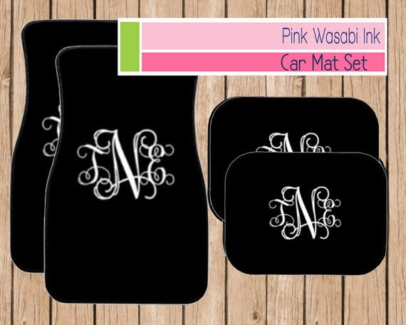 Monogrammed Car Mat Set Personalized Front Car by PinkWasabiInk
