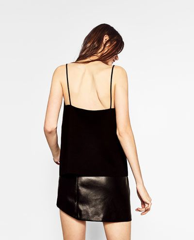 Image 6 of LEATHER EFFECT STRAPPY TOP from Zara