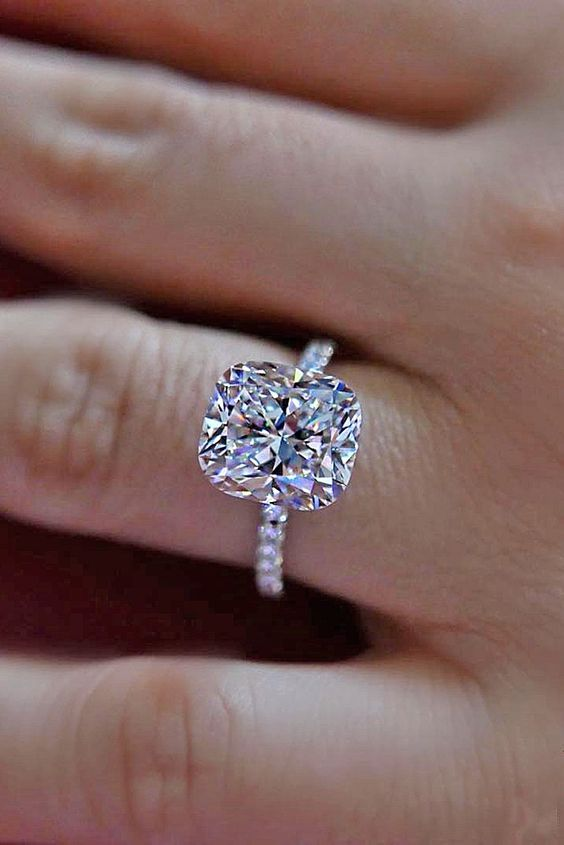 cushion cut pave band engagement rings 2