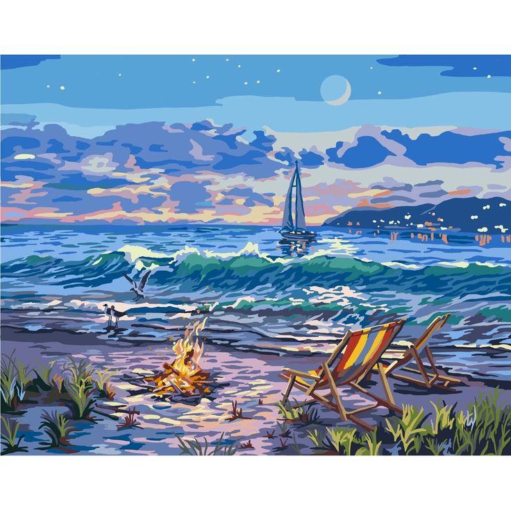 "Plaid:Craft Paint By Number Canvas W/Lights Kit 11""X14""-Beach - Beach"